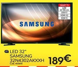 Oferta de Smart tv led 32'' Samsung por 189€