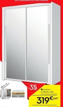 Oferta de Armario 2 puertas correderas con espejo 153 cm CYRUS por 319€