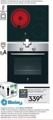 Oferta de Conjunto horno y vitrocerámica BALAY 3HV831XP por 339€