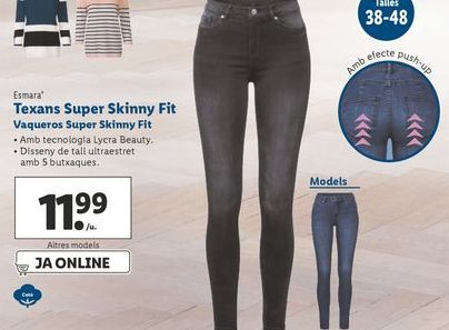 Oferta de Vaqueros super Skinny fit esmara por 11,99€
