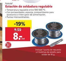 Oferta de Estación de soldadura regulable Parkside por 8€