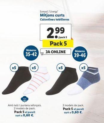 Oferta de Calcetines tobilleros  esmara/livergy por 2,99€