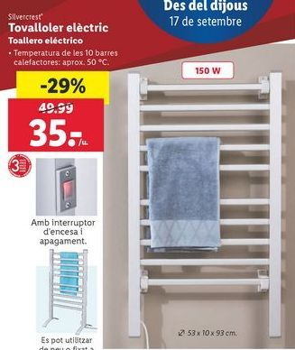 Oferta de Toallero eléctrico SilverCrest por 35€