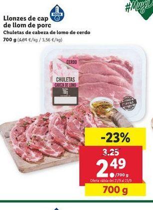 Oferta de Chuletas de cabeza de lomo de cerdo por 2,49€