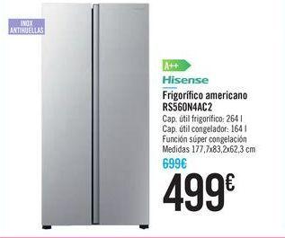 Oferta de Frigorífi co americano RS560N4AC2 Hisense por 499€