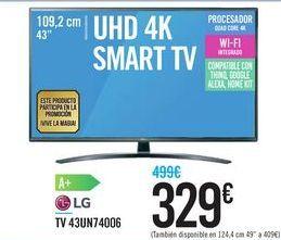 Oferta de TV 43UN74006 LG por 329€