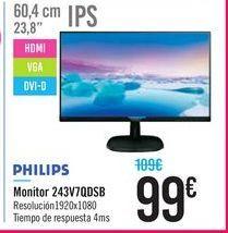 Oferta de Monitor 243V7QDSB PHILIPS por 99€