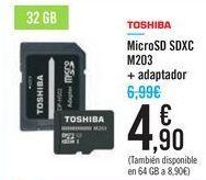 Oferta de MicroSD SDXC M203 + adaptador TOSHIBA por 4,9€