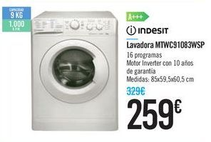 Oferta de Lavadora MTWC91083WSP INDESIT por 259€
