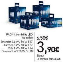 Oferta de PACK 4 Bombilla LED luz calida  por 3,9€
