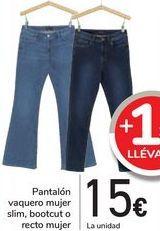 Oferta de Pantalón vaquero mujer slim, bootcut o recto mujer  por 15€