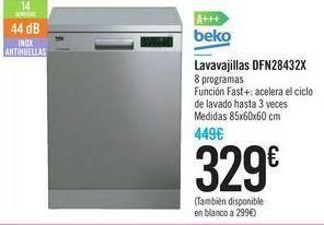Oferta de Lavavajillas DFN28432X Beko por 329€
