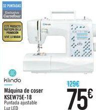 Oferta de Máquina de coser KSEW75E-18 Klindo  por 75€
