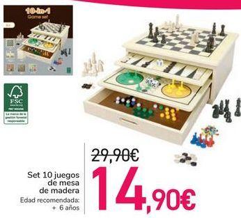 Oferta de Set 10 juegos de mesa de madera  por 14,9€