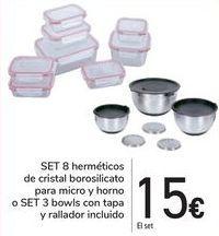 Oferta de SET 8 Herméticos de cristal borosilicato para micro y horno o SET 3 Bowls con tapa y rallador incluido  por 15€