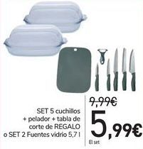 Oferta de Set 5 cuchillos + pelador + tabla de corte de Regalo o Set 2 fuentes vidrio  por 5,99€