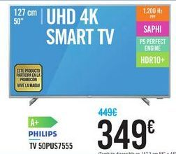Oferta de TV 50PUS7555 PHILIPS por 349€