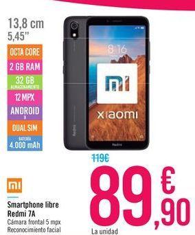 Oferta de Smartphone libre Redmi 7A  por 89,9€