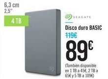 Oferta de Disco duro BASIC SEAGATE por 89€
