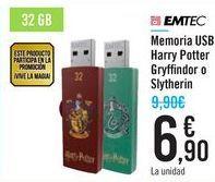 Oferta de Memoria USB Harry Potter Gryffindor o Slytherin por 6,9€