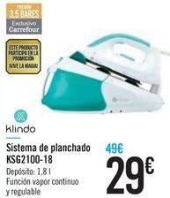 Oferta de Sistema de planchado KSG2100-18 Klindo por 29€