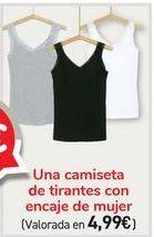 Oferta de Una camiseta de tirantes con encaje de mujer  por 4,99€