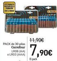 Oferta de PACK de 30 pilas Carrefour  por 7,9€