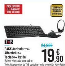 Oferta de PACK Auriculares + Alfombrilla + Teclado + Ratón TnB por 19,9€
