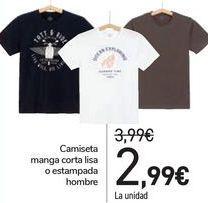 Oferta de Camiseta manga corta lisa o estampada hombre  por 2,99€