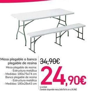 Oferta de Mesa plegable o banco plegable de resina  por 24,9€
