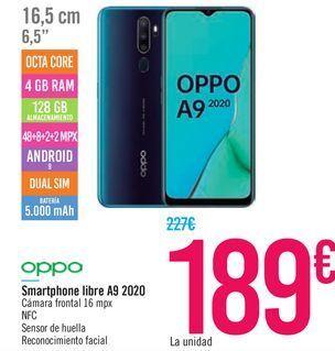 Oferta de Smartphone libre A9 2020 OPPO por 189€