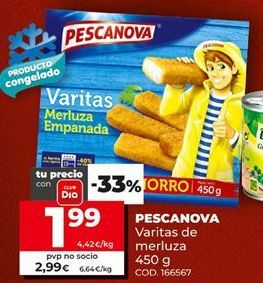 Oferta de Varitas de merluza Pescanova, 450g.  por 1,99€