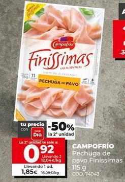 Oferta de Pechuga de pavo Campofrío por 1,85€