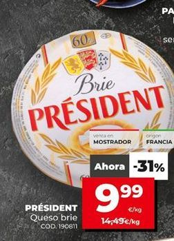 Oferta de Queso brie Président por 9,99€