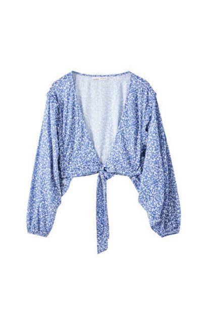 Oferta de Blusa estampada multiposición por 12,59€