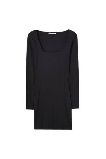 Oferta de Vestido mini canalé escote cuadrado por 9,99€