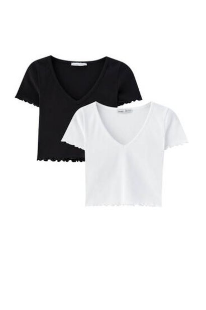 Oferta de Pack camisetas cropped por 11,99€