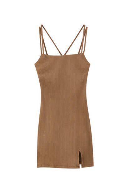 Oferta de Vestido canalé marrón tiras por 15,99€
