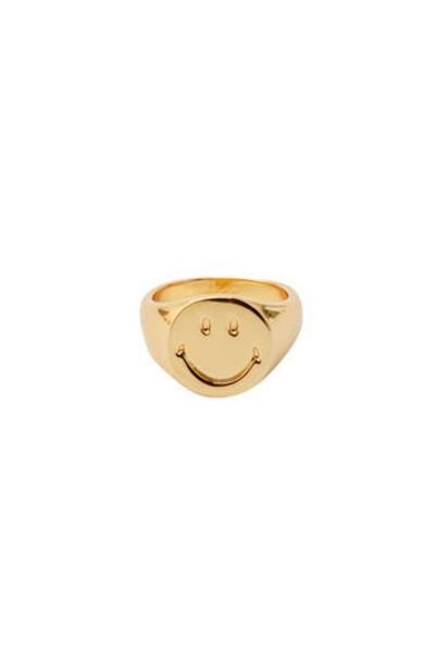 Oferta de Anillo sello Smiley baño oro por 9,99€