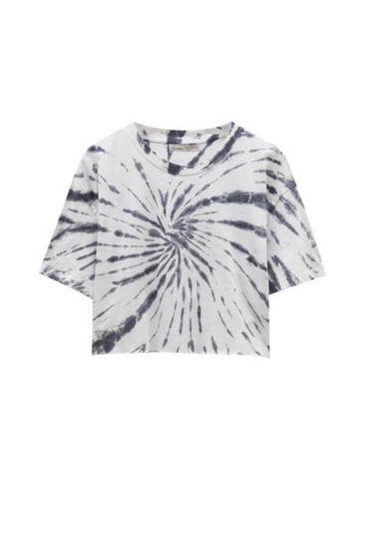 Oferta de Camiseta tie-dye cropped por 5,99€