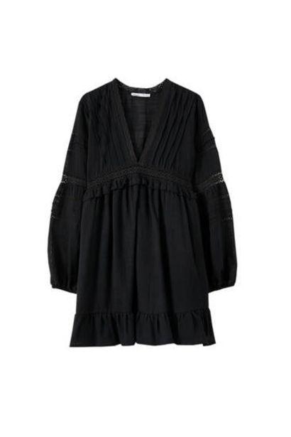 Oferta de Vestido escote pico jaretas por 29,99€