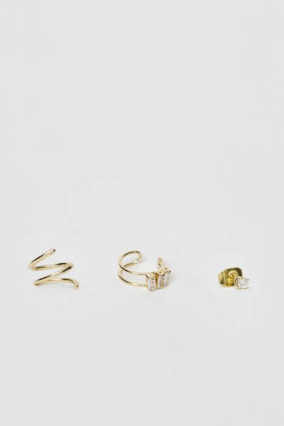 Oferta de Pack 3 pendientes y ear cuff circonitas bañados en oro por 15,99€