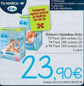 Oferta de Pañales Carrefour Baby por 23,9€