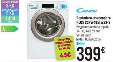 Oferta de Lavadora-secadora Plus CSPW485TWS3-S CANDY  por 399€