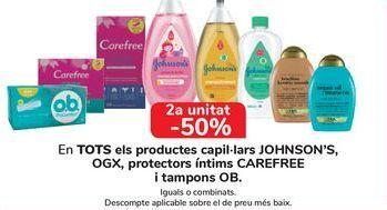 Oferta de En TODOS los productos capilares JOHNSONS, OGX, Salvaslips Carefree y Tampones OB por