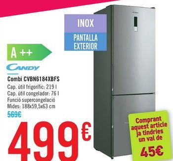 Oferta de Combi CVBN6184XBFS CANDY por 499€