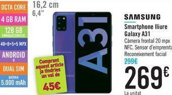 Oferta de Smartphone libre Galaxy A31 SAMSUNG  por 269鈧�