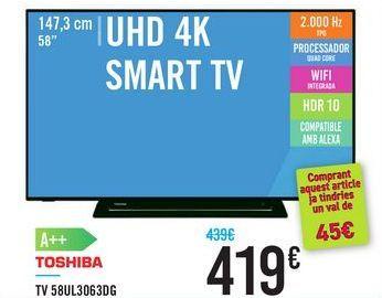 Oferta de TV 58UL3063DG TOSHIBA por 419€