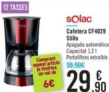 Oferta de Cafetera CF4029 Solac Stillo  por 29,9€