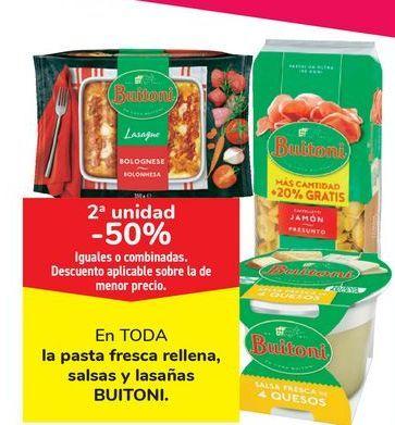 Oferta de En TODA la pasta fresca rellena, salsas y lasañas BUITONI por